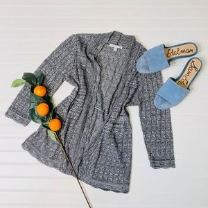 Notations Knit 3/4 Sleeve Open Front Cardigan